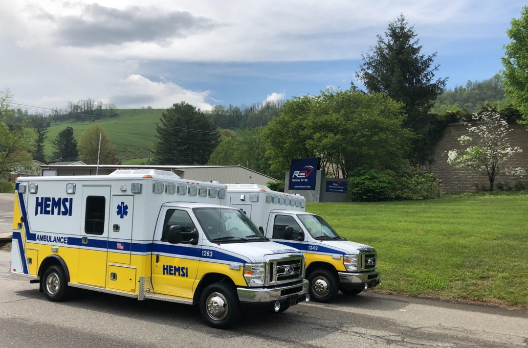 two ambulances that recently were remounted by SEC